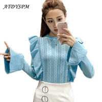 New Women S Flare Sleeve Cute Sweaters Pullovers 2017 Autumn Fashion Candy Color Slim Ruffle Jumper