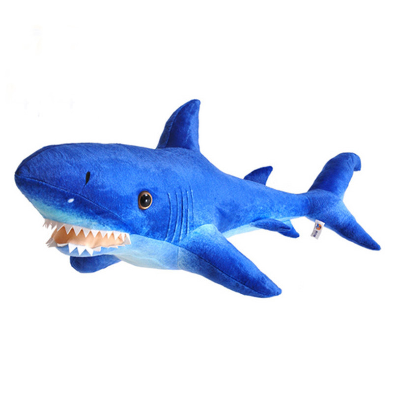 Fancytrader Giant Blue Shark Plush Toys Big Stuffed Sea Animal Shark Doll Pillow 115cm 45inch Best Gifts for Children fancytrader big giant plush bear 160cm soft cotton stuffed teddy bears toys best gifts for children