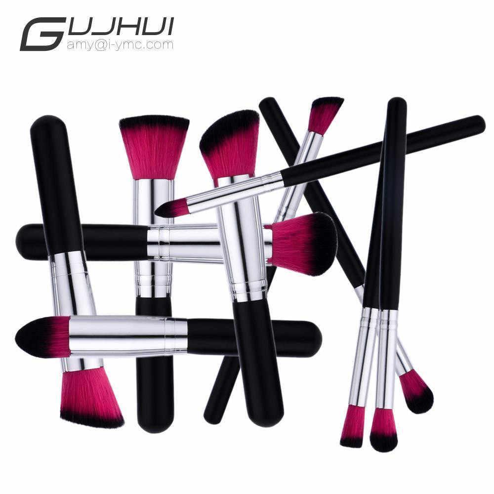 GUJHUI, 10 шт., синтетические волосы, кисти для макияжа, основа, консилер для бровей, подводка для глаз, румяна, кисти, косметический набор, pincel maquiagem