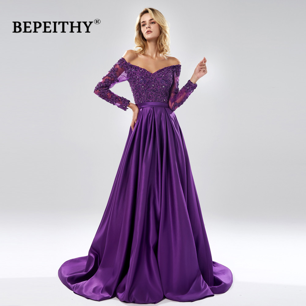 BEPEITHY Robe De Soiree Off  The Shoulder A Line Long Evening Dress Party Elegant 2019 Full Sleeves Purple Lace Bodice Prom Gown