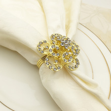 6PC alloy rose napkin buckle ring diamond gold