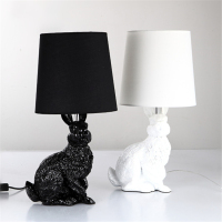 modern Rabbit Table Lamp for Living Room Bedroom Hotel Besides Lamp Luminaria Mesa Animal Home Deco Resin Industrial Table Lamp