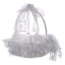 Hot Sale Wedding flower girl basket lace decorative ribbon bride