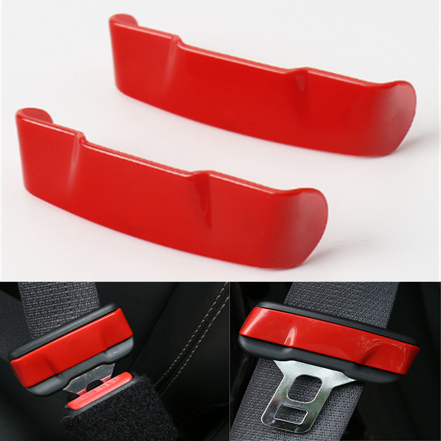2Pcs ABS Auto Car Interior Insert Seat Safety Belt Buckle Clip Trim Frame Sticker Cover Fit For Jeep Cherokee 2014-2016
