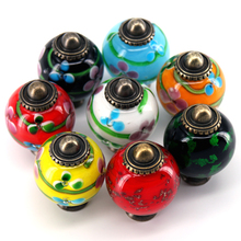 1PC New Colorful Drawer Pull Handle Artistic Glass Knob Handles Home Room Cabinets Accessories