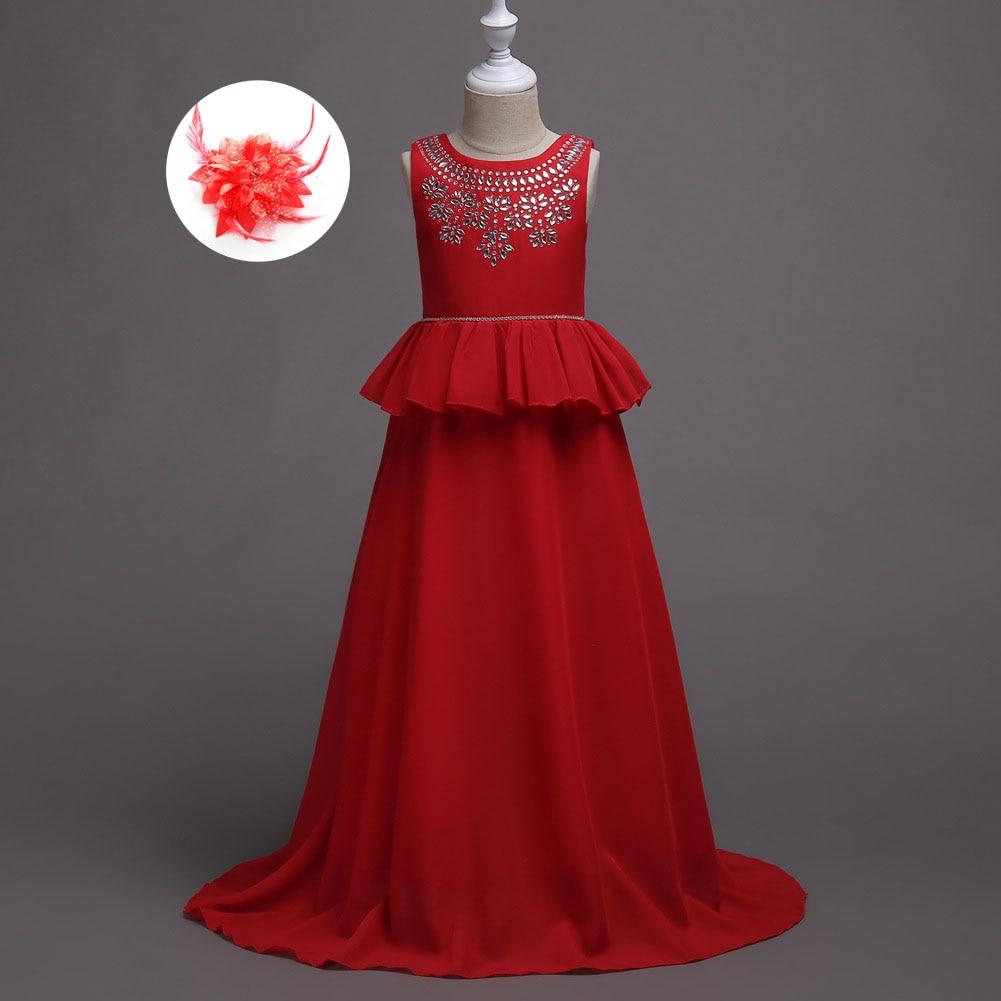 Children Formal Deep Pink Navy Sky Blue Red Evening Wedding Kids Gowns Floor Length Flower Girl Dress for 5 To 15 Years blue sky чаша северный олень