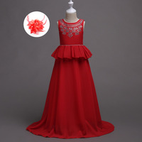 Children Formal Deep Pink Navy Sky Blue Red Evening Wedding Kids Gowns Floor Length Flower Girl Dress for 5 To 15 Years