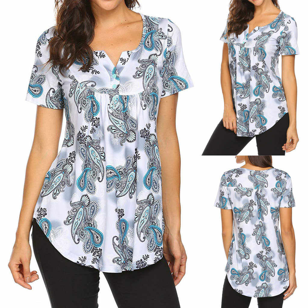 Women Blouse Short Sleeve Print Tops Ladies Casual Flare Tunic Blouse Camisas Mujer Blouses For Woman Chemise Femme Dropshipping