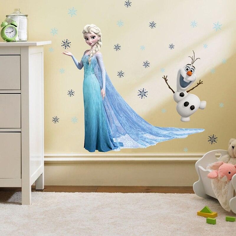 Congelado Princesa Elsa Anna dos desenhos animados DIY Adesivos de Parede Menina Crianças Fundo Quarto Decoração Removível Crianças Quarto Poster Decal