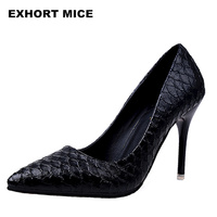 2018 Woman Sexy Snake Pattern Pu Leather Heels Shoes Women Pumps Janes Shoes Female Pointed Toe