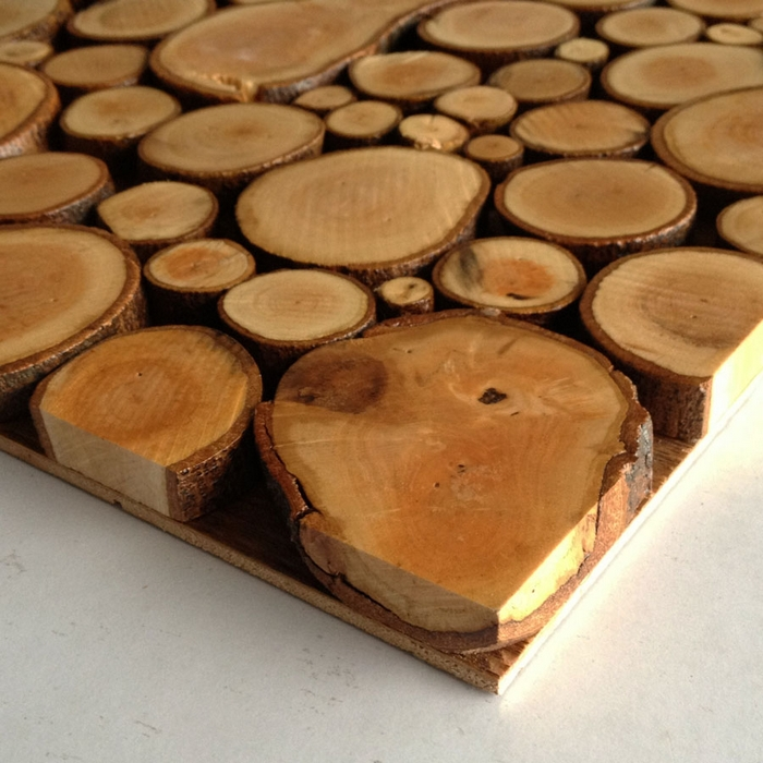 Big And Small Round Raw Log Wood Mosaic Rustic Wood Backsplash Tile Ancient  Wood Mosaic Panels Mesh Backing Wall And Floor In Wall Stickers From Home  ...