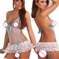 ST084 Perspectiva lingerei erótico babydoll lingerie sexy quente laço azul arco amarrar três pontos trajes sexy lenceria sexy