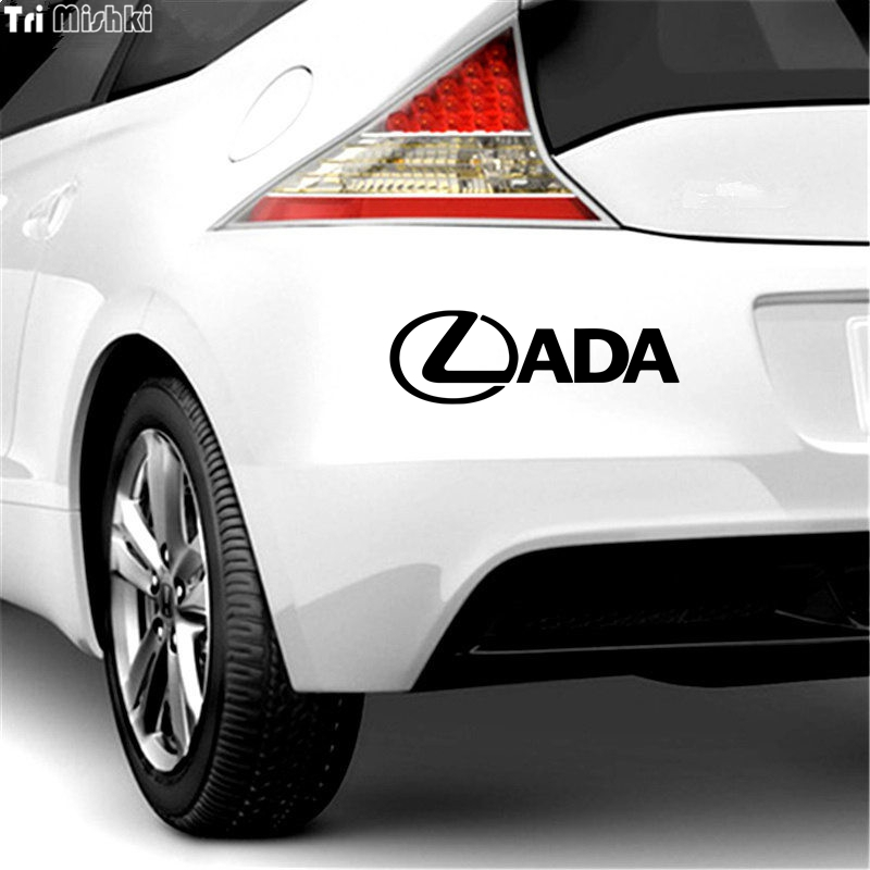 Image 2 - Tri Mishki HZX813# 30*9.5cm  LADA car sticker funny Vinyl Decals Motorcycle Accessories Stickers-in Car Stickers from Automobiles & Motorcycles