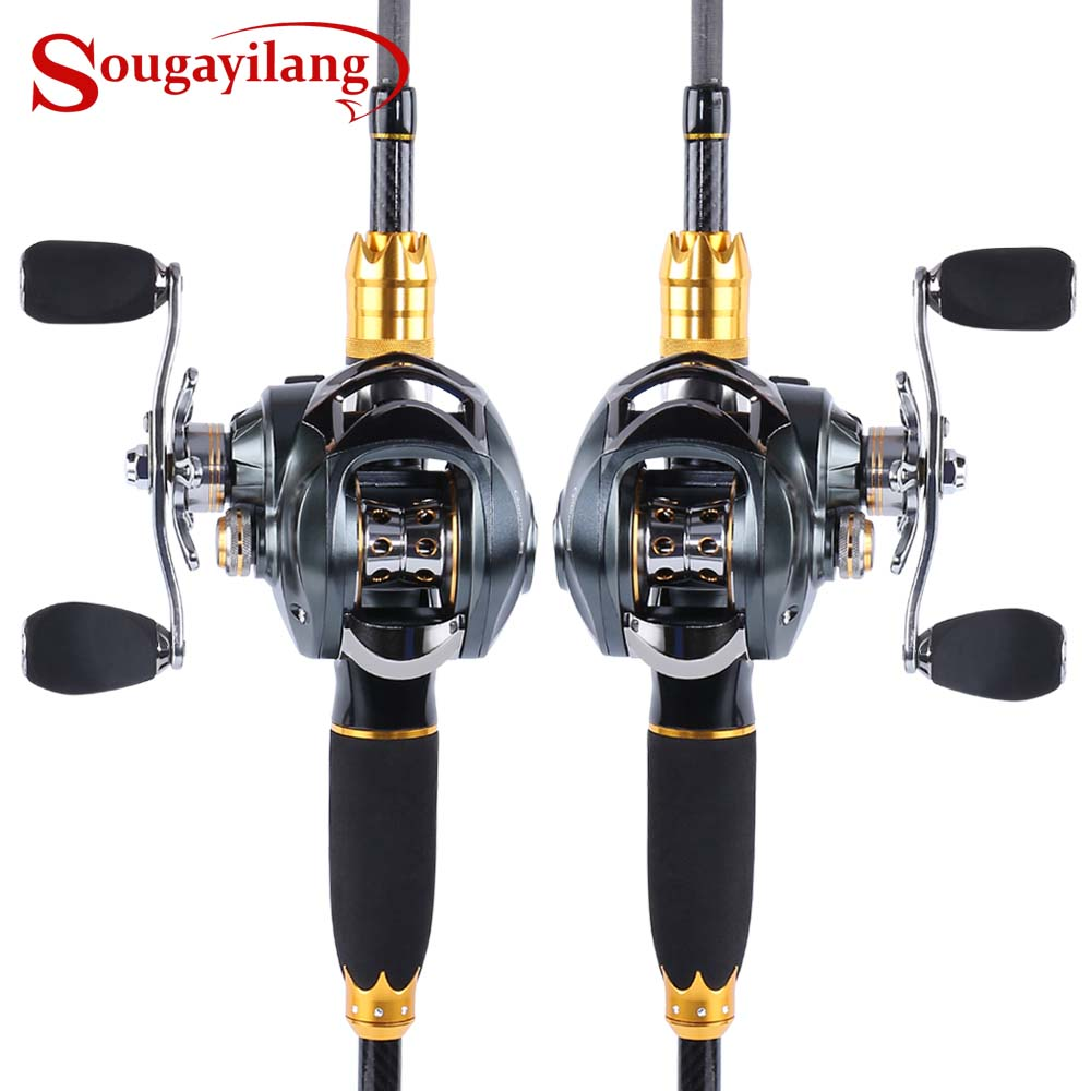 Sougayilang 4 Section Lure Fishing Rod and Baitcasting Reel Combo Portable Carbon Fiber Casting Rod Pole