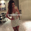 Sexy V neck Colorful Crystals Cocktail Dresses 2016 vestido de festa curto Mini Short Party Gowns Robe de cocktail Formal Dress