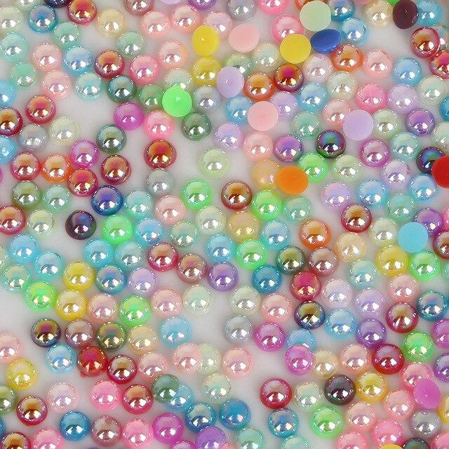 Купить разноцветные акриловые полукруглые бусины с плоской обратной