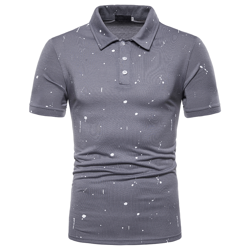 NEGIZBER New Fashion Men's   POLO   Shirt Solid Color Paint Point Decorative Shirt Lapel Loose Short-sleeved   Polo   Shirt Men