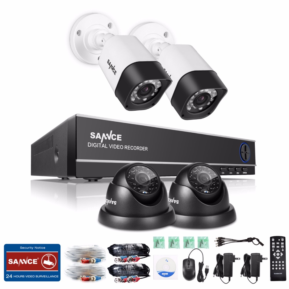 SANNCE 4CH CCTV System 720P HDMI DVR Kit 1200TVL Outdoor Security Waterproof Night Vision 4 AHD Cameras Surveillance Kit hd 1 tb sannce hd 4ch cctv system hdmi ahd dvr kit 720p outdoor security waterproof night vision surveillance kits with 4 cameras 1tb