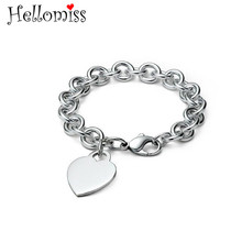 8 Inch Heart Tag Bracelets for Women 925 Silver Charm Bracelet & Bangle Fashion Brand Jewelry Valentine's Day Gifts for Lover silver charm bracelets 925 jewelry heart bracelets for women silver plated jewelry gifts