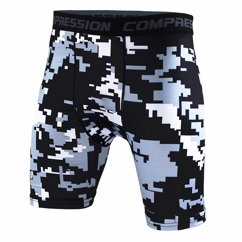 Men Compression Trainning Exercise Sport Shorts Mosaic Print Shorts Fitness Camouflage Mens Short Homme Male Brand Clothing MMA
