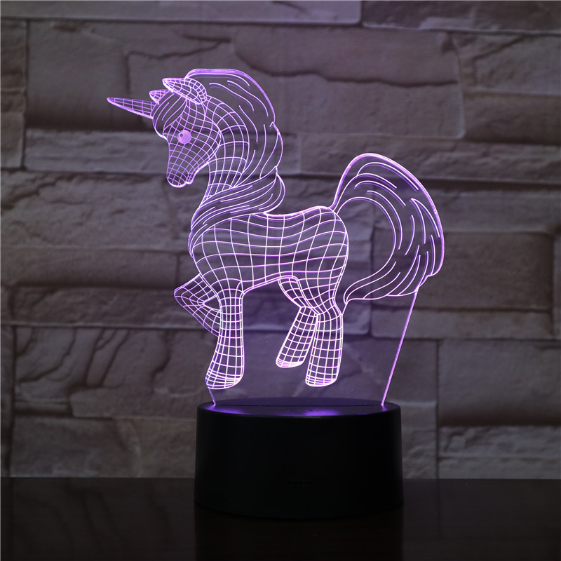3d LED Lighting Table Night Light For Baby Girl Bedroom Animal Horse Pony Unicorn 3D Illusion Decorative Lamp Promotion Items