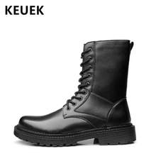British style Men Military boots Split Leather Lace-Up Mid-Calf Motorcycle boots Non-slip Male shoes Outdoor boots 02C