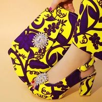 Hot sale yellow women dress shoes with crystal style african purple printed wax pattern pumps match handbag set V242 1,heel 7CM