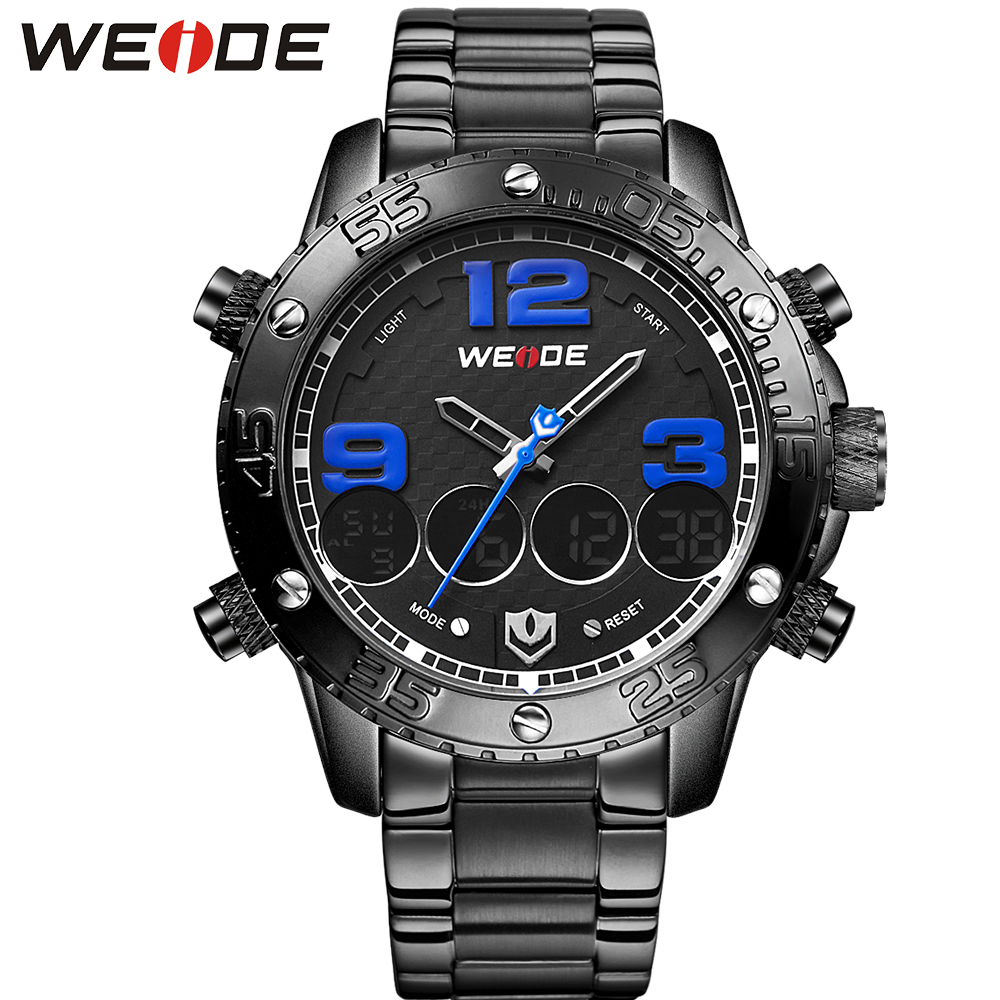 WEIDE Full Steel Auto Date Watch Mens Analog Digital Dual Time Zone Alarm Stopwatch Display Sports Male Clock Watches For Men weide men stainless steel wristwatches quartz analog digital alarm auto date stopwatch display waterproof outdoor sports watch