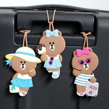 Travel Accessories Cartoon Silica Gel Brown Bear Luggage Tag Women Portable Label Suitcase ID Address Holder Baggage Boarding travel accessories luggage tag fashion map silica gel suitcase id address holder cute baggage boarding tag portable label