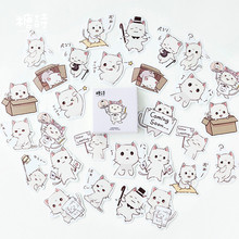 45pcs Cartoon Cat Paper Stickers Adhesive Stickers DIY Decoration Diary Stationery Stickers Book Box Package Label Sticker 2019