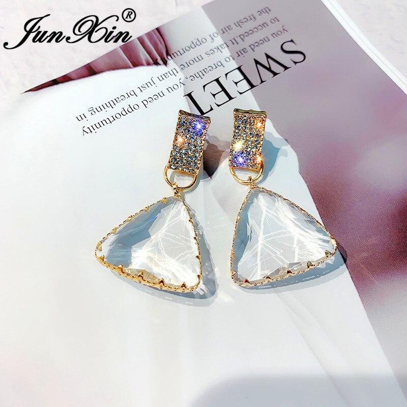 JUNXIN Geometric Austrian Crystal Big Triangle Drop Earrings For Women Yellow Gold Color Korean Clear Stone Dangle Earrings