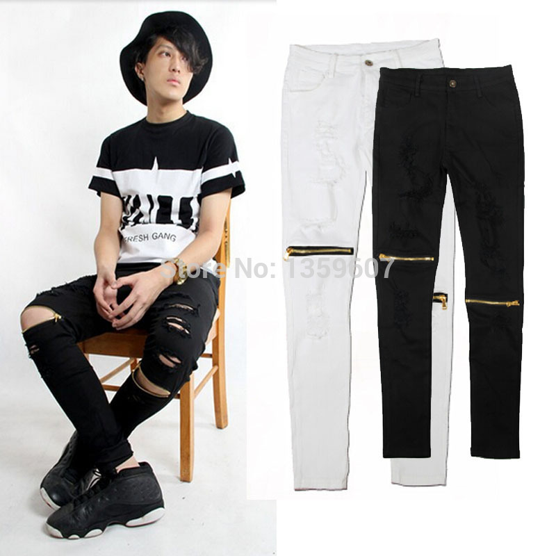 bdb0cb9d5904d designer mens gold zipper distressed jeans ripped black and white skinny  destroyed jeans denim biker pants kanye west-in Jeans from Men's Clothing  on ...