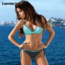 Plus Size Bikini Set womens Cross Stripe  Swimsuits Bathing Suit Beach Bandage Halter Swim Wear