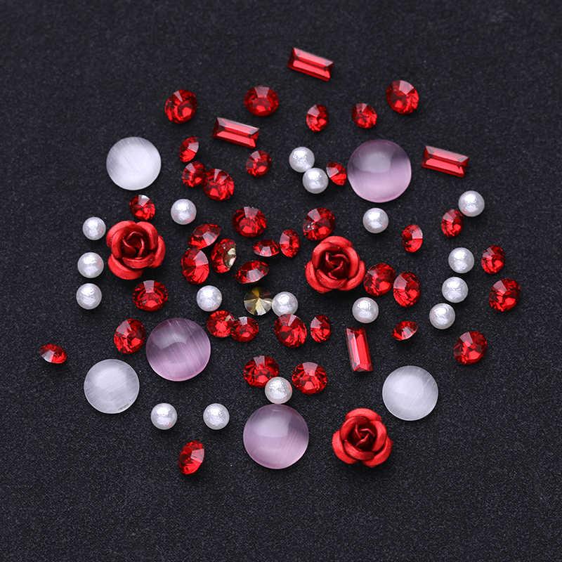 Verkauf 3D Strass Set Diverse DIY Edelsteine Neue Charming Mix Nail art Dekoration Rose Schmuck Gel Glitter Nail art Dekoration