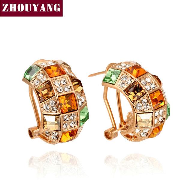 ZYE063 Rose Banhado A Ouro Bijuterias Feito com Cristal Austríaco Atacado