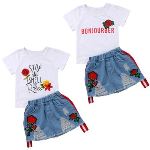 2PCS Kids Baby Girl Summer Outfits Letters Floral Print T-shirt Tops White+Denim Riped Skirts Set Clothes Summer Beach Casual fashion baby girl t shirt set cotton heart print shirt hole denim cropped trousers casual polka dot children clothing set