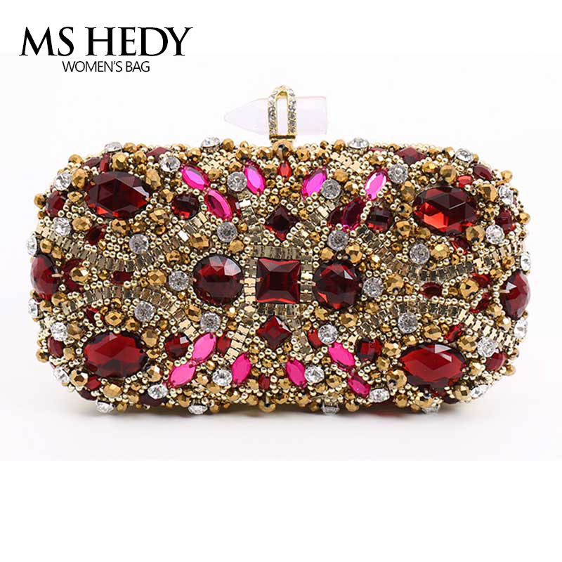 Single Of Red Rhinestone Fashion Lady Hand Bag Missile head link Crystal Women Purse Diamond Beaded wallet and evening bag lady of magick
