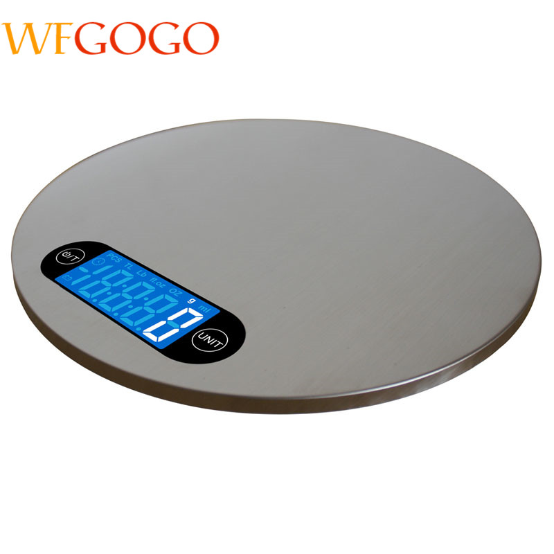 5KG/1g LCD Digital Kitchen Scale Round Shape Stainless Steel Display Electronic Food Scale Kitchen Weight Tool With Hanger