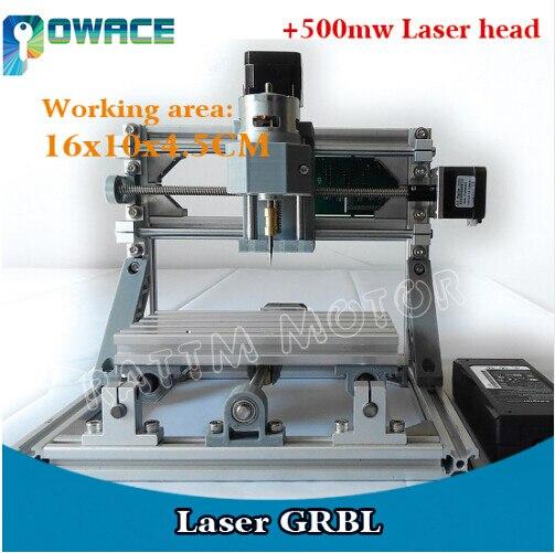 1610 GRBL contrôle bricolage mini CNC Machine zone de travail 16x10x4.5 cm 3 axes pcb pvc fraiseuse bois routeur + 500 MW tube Laser