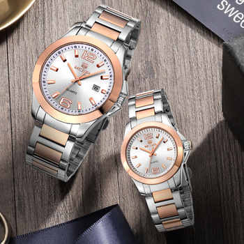 MEGIR Man Watches Horloges Mannen Rose Stainless Steel Brand Quartz Watches for Men Luxury Wristwatches Set Zegarek Meski Saat