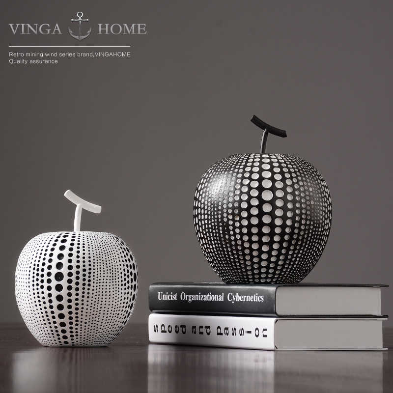 Black White Apple Home Decorations Resin Modern Simple Office Ornaments Crafts Accessories Living Room Figurines Miniatures Aliexpress