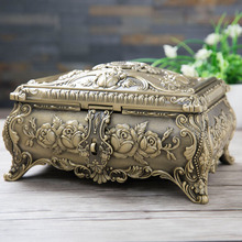 Jewelry-Box Trinket-Box Vintage Gift Package Home-Decoration Metal with 2-Layers Art-Craft