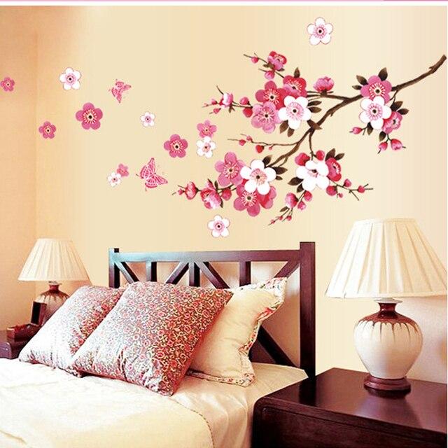 Romantis Bunga Sakura Stiker Dinding Rumah Dekorasi 9053 Tamu R Tidur Kantor Diy Fl Decals