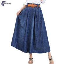 TNLNZHYN Women clothing cowboy Half body skirt 2017 summer club new fashion big size sexy long female denim skirt TT507