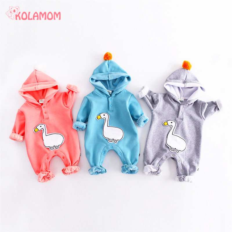 2017 New Cartoon Duck Baby Rompers Pajamas Newborn boys girls Jumpsuit Winter Long Sleeve Infant Cotton Cap romper Baby clothing winter newborn bear jumpsuit patchwork long sleeve baby rompers clothes baby boys jumpsuits infant girls clothing overall