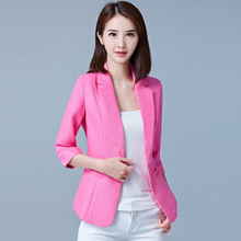 Autumn Women Blazer Fashion Solid Long Sleeve Cardigan Jacket Suit Vintage Turn-down Collar Outwear Ladies Blazer Elegant Top cheap Blazers COTTON Polyester Three Quarter REGULAR Single Breasted Notched Button Casual C0421 women office blazer SexeMara
