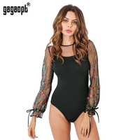 Gagaopt 2017 Summer Bodysuits Women Sexy Mesh Long Sleeve Floral Embroidery Playsuits Lady Bodycon Cool Tops