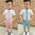 2 color 2017 juegos de los niños del bebé traje traje dress suit shirt + tie + pantalones traje de dos conjuntos de 1-5 años de envío gratis