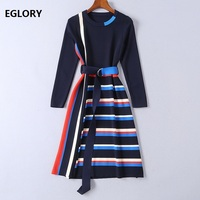 Striped Dress New Arrival 2019 Spring Autumn Casual Sweater Dress Women O Neck Stripe Knitting Long Sleeve Sweater Dress Belt