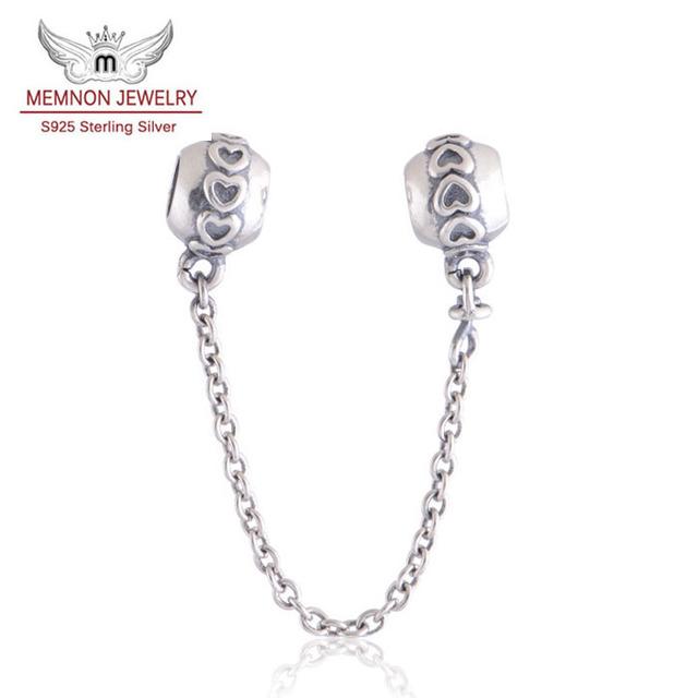 925 joyería de Plata Esterlina Amor Corazón Seguridad Encantos de La Cadena cupieron Las Pulseras Brazaletes de la joyería DIY Que Hace Memnon Joyería SF201